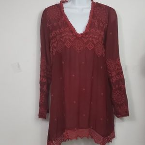 Johnny Was embroidered rayon tunic red sz xs
